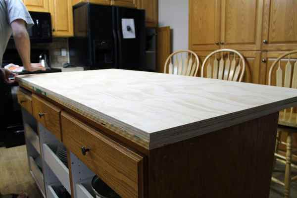 plywood kitchen countertop ideas DIY Faux Soapstone Countertop - Chris Loves Julia
