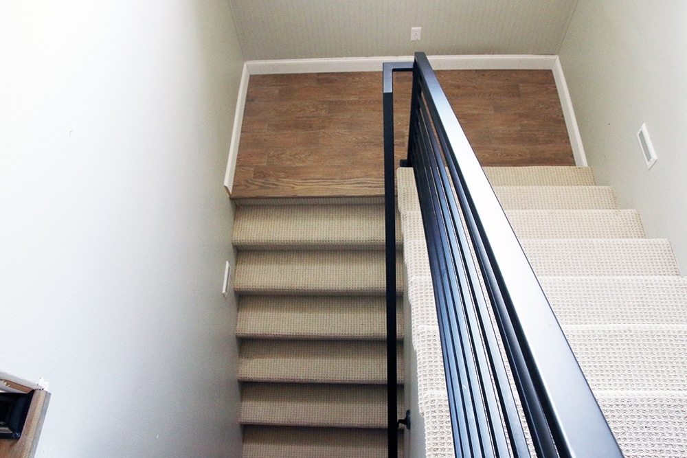 All The Details On Our New Horizontal Stair Railing Chris Loves | Black Horizontal Stair Railing | Metal | Linear | Interior | Wood | Exterior
