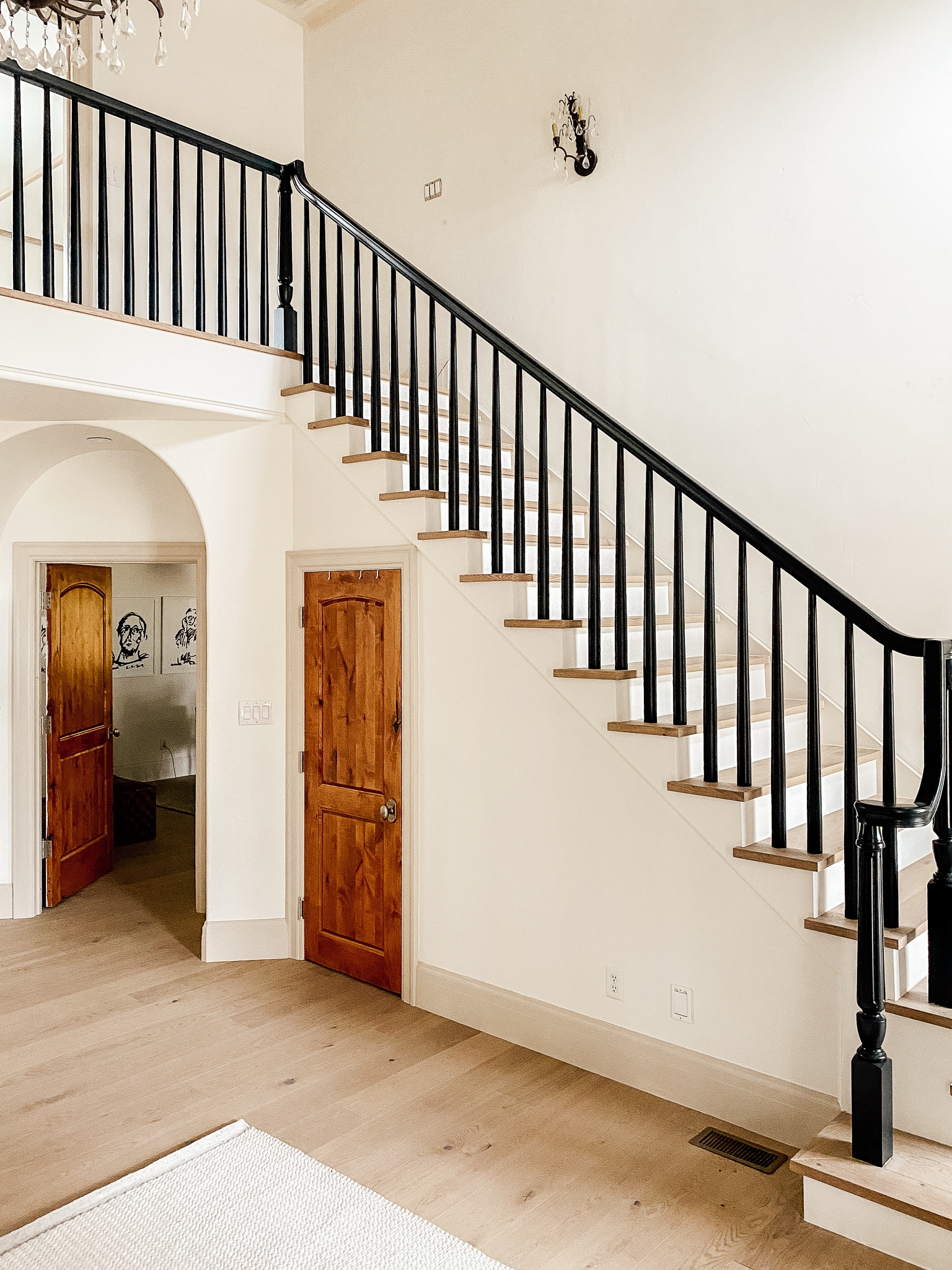 How We Completely Updated Our Stair Railings By Only Swapping Out | Wood Handrail With Iron Balusters | Stairway | Wooden | Copper | Cast Iron | Landing