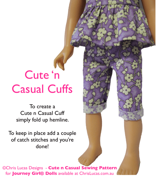 Chris Lucas Designs - Cute n Casual - JOURNEY GIRL Doll Sewing Pattern - Capri Pants with Cuffs