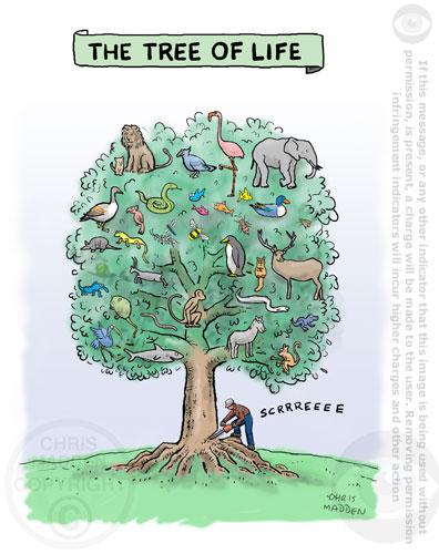 Tree of life cartoon - chainsaw