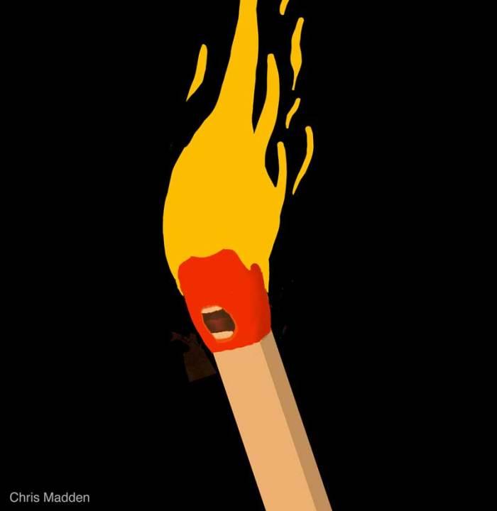 trump caricature hair fire or flames