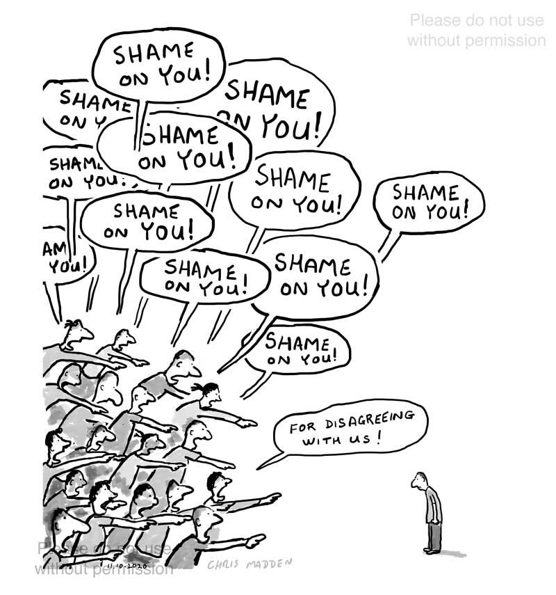 Shame on you - woke shaming cartoon