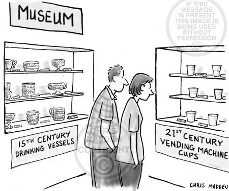 Museum cartoon: an exhibition of vending machine cups