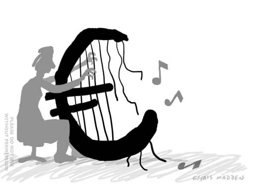 EEC euro financial crisis - broken harp cartoon