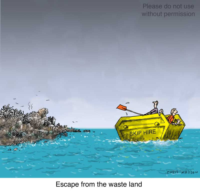 waste land builders skip boat - cartoon