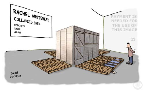 rachel whiteread cartoon - cast of interior of a shed