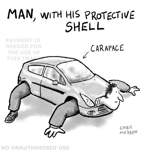 car as a protective shell - cartoon