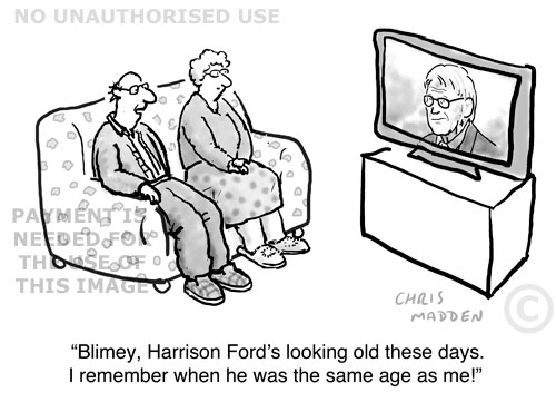 cartoon - celebrity looking old