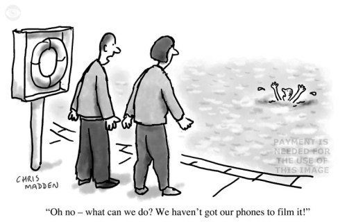 Cartoon - the public filming disasters on phones