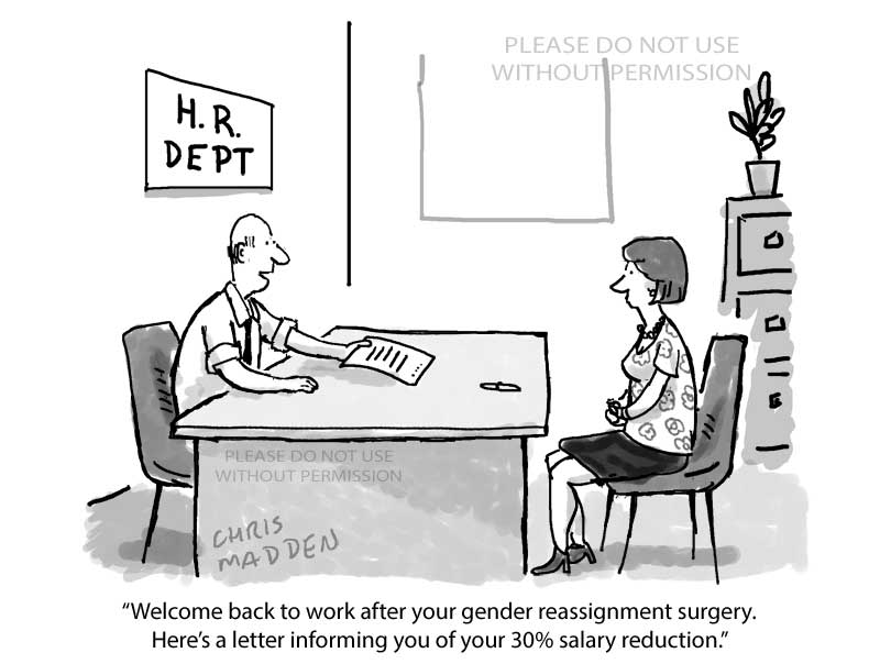 gender reassignment and pay gap cartoon