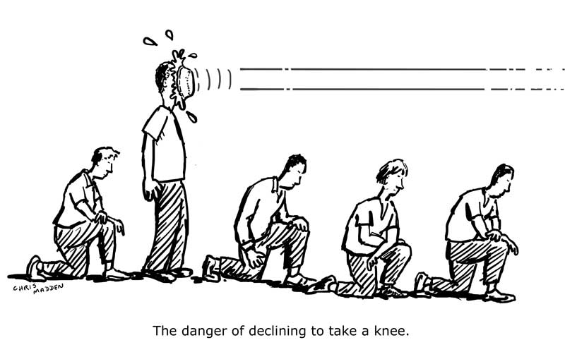 The Danger Of Declining To Take A Knee Cartoon