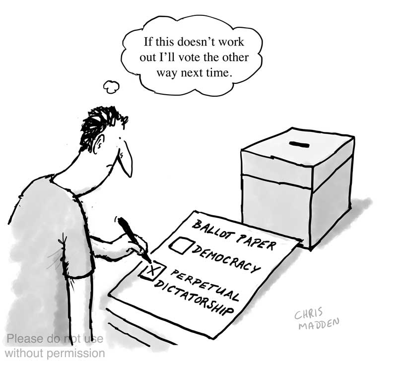 voting for dictatorship - populism cartoon