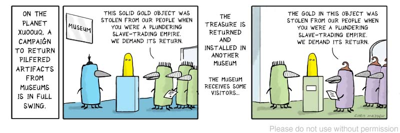 return of museum artifacts - repatriation cartoon