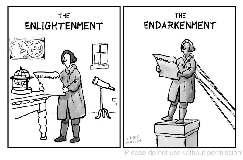 Anti-enlightenment cartoon – the endarkenment