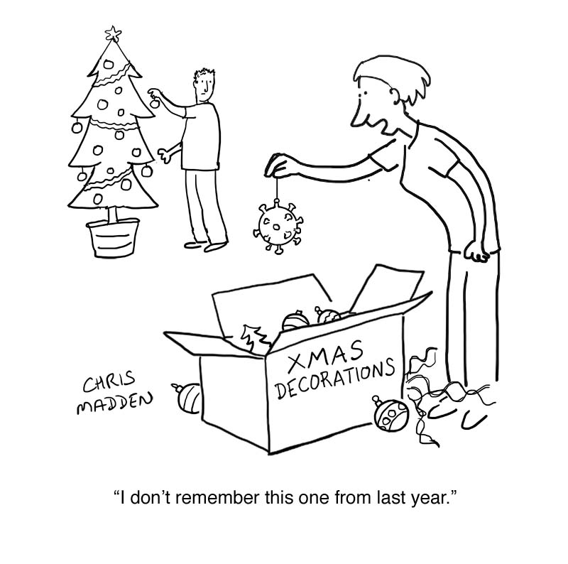 covid-19 virus Christmas decoration cartoon