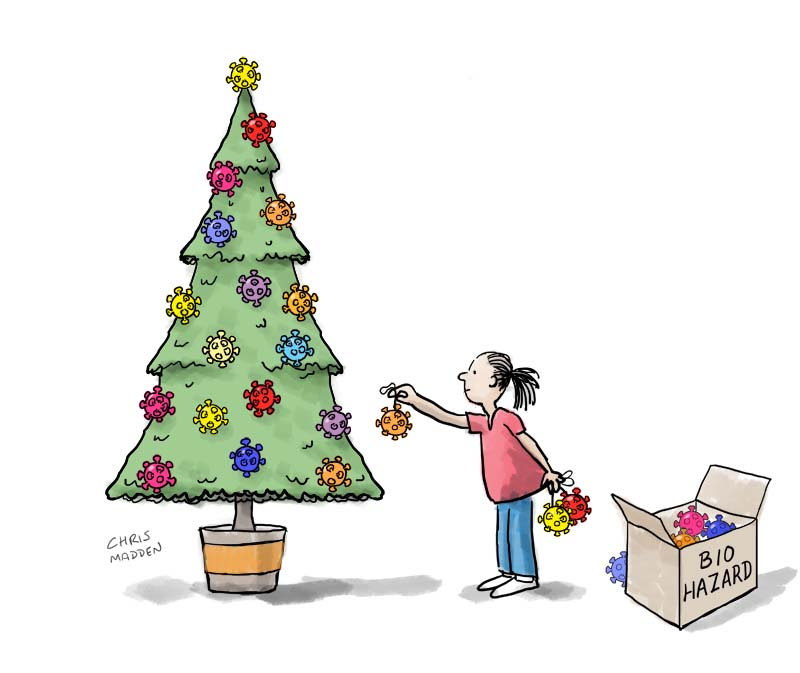 covid-19 virus Christmas tree decorations cartoon