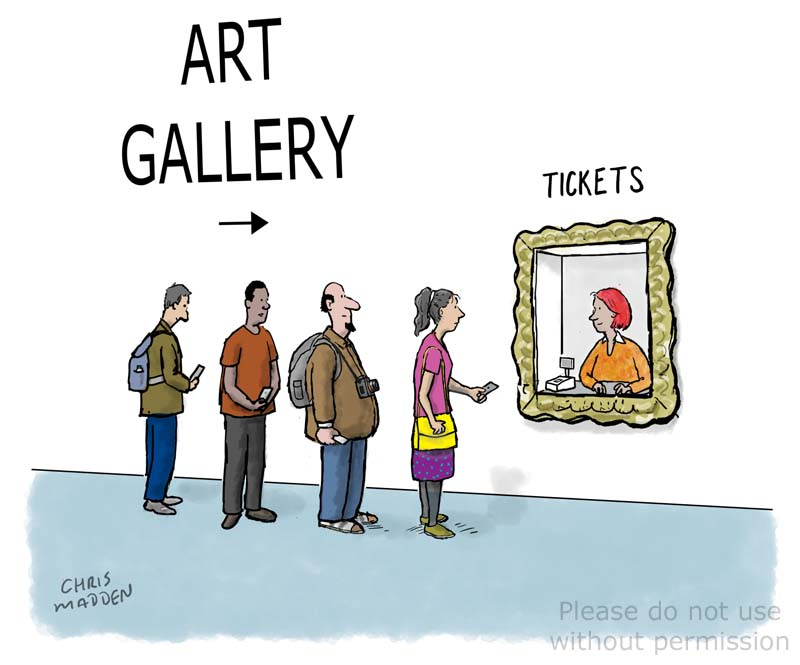 Art gallery admission ticket cartoon