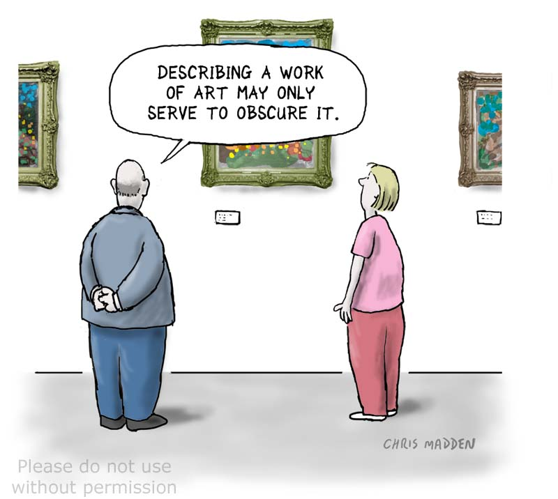 Cartoon about the problem of trying to describe visual art in words
