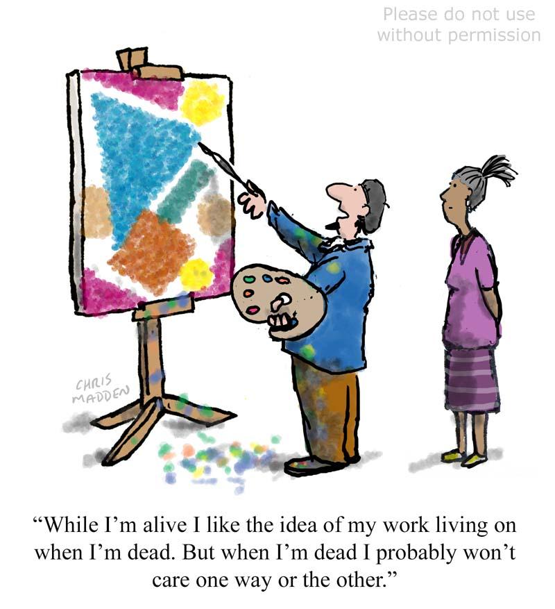 Art as a bid for immortality cartoon