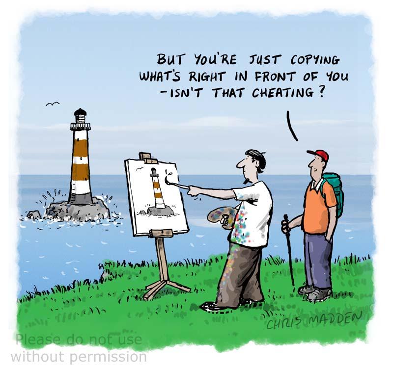 Painting a landscape cartoon