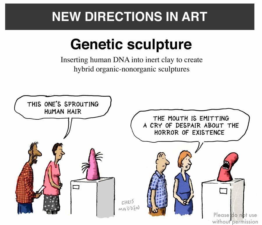 contemporary art cartoon genetic sculpture