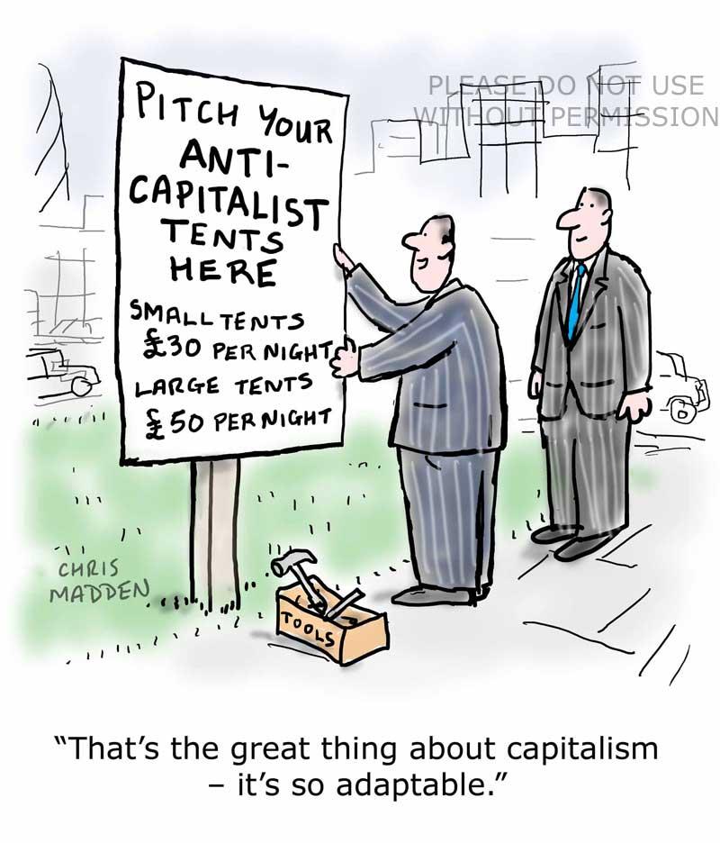 anti-capitalism protest campsite cartoon