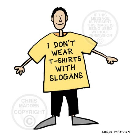 Illustration. Person wearing a slogan T-shirt