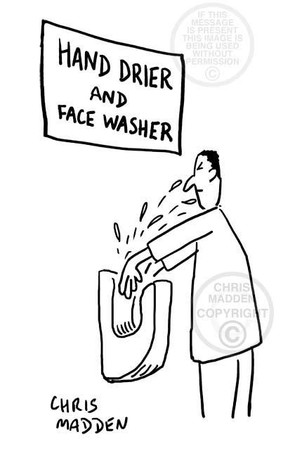 Hygiene cartoon. An electric hand drier splashing the user