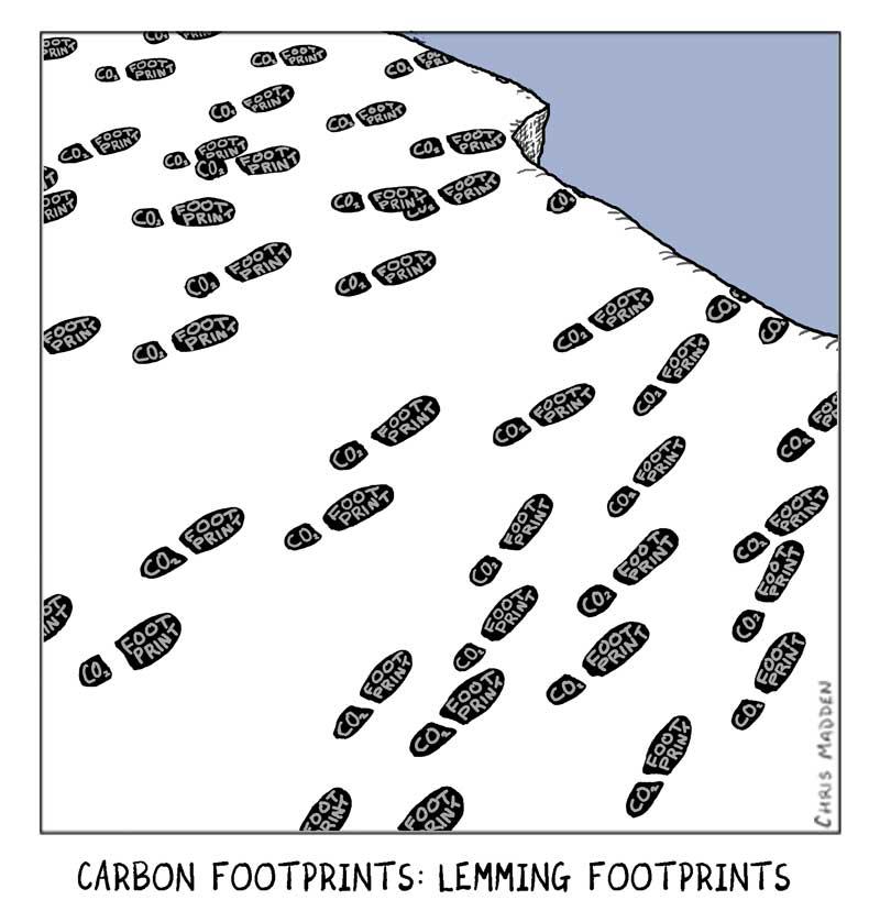Environmental cartoons. Carbon footprints going over a cliff