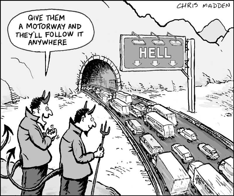 road building policy - road to hell cartoon