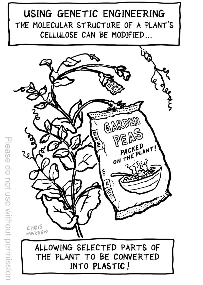 Genetically modified food cartoon - bioplastic packaging