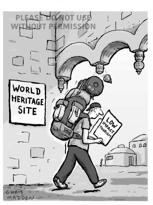 Destructive impact of tourism cartoon