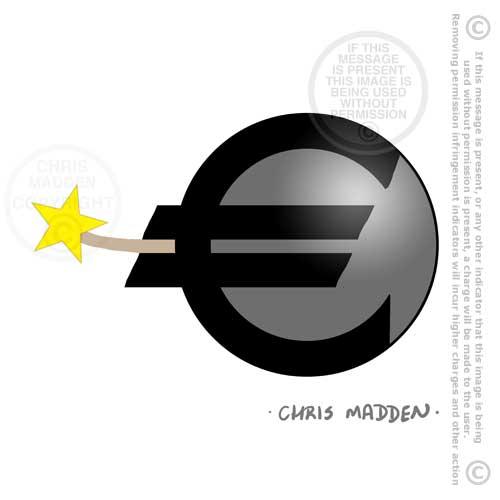 Cartoon euro financial crisis timebomb