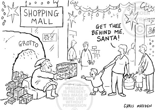 Christmas cartoon. Santa tempting a child with a gift. The child's mother saying 'Get thee behind me, Santa!'