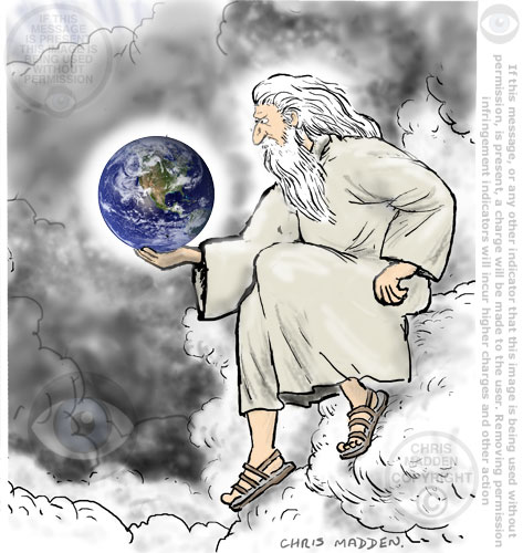 god on cloud holding earth