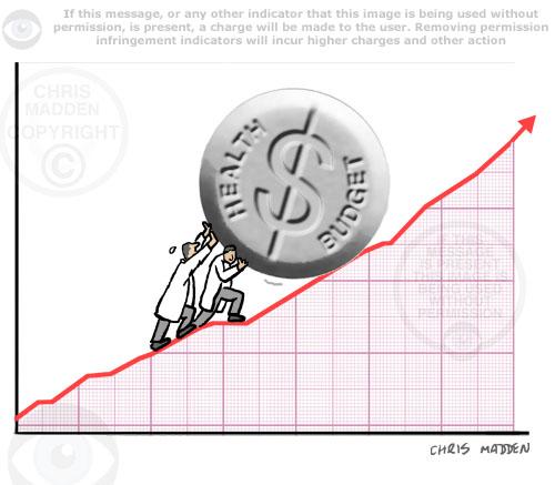 health spending rolling pill up graph cartoon