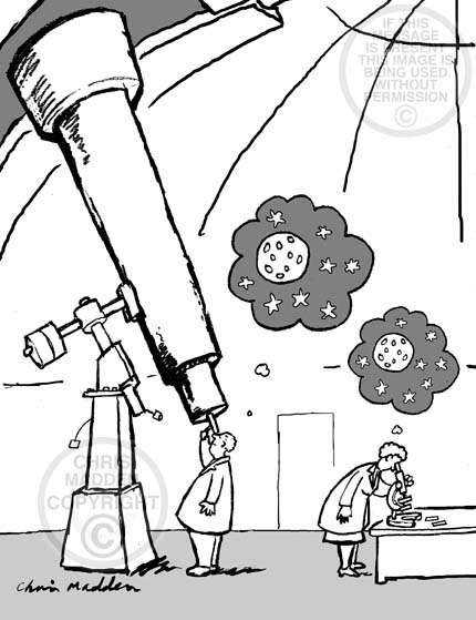 Cartoon. A person looking through a telescope and a person