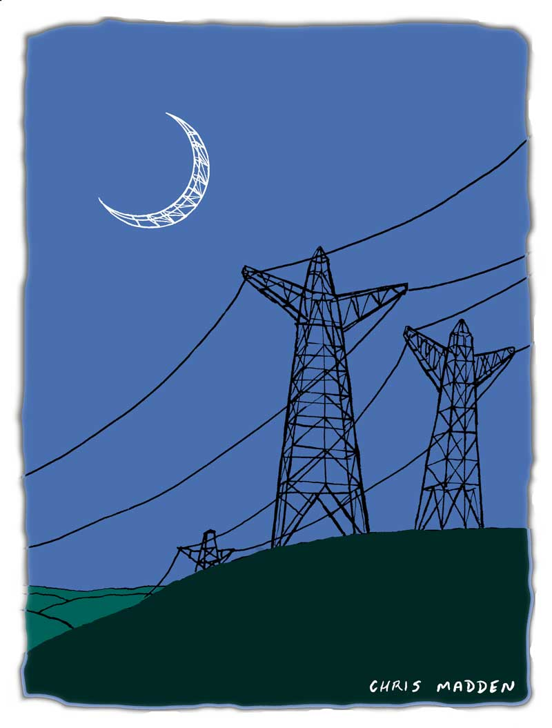 Moon cartoons. Electricity pylons looking at the moon.