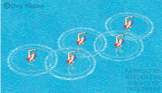Olympic rings cartoon - synchronised swimming creating rings