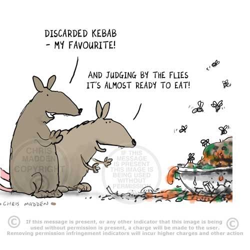 Cartoon. Rats looking at decaying food