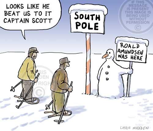 Scott of the Antarctic cartoon: Scott reaches the South Pole after Amundsen