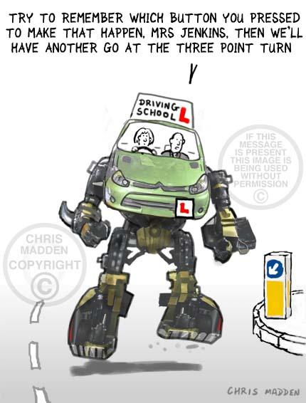 Cartoon. A transformer car being driven by a learner driver