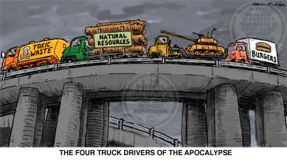 Environmental cartoon - Four Truckdrivers of the Apocalypse