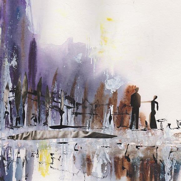 Couple dans la ville - aquarelle collage encre - 30 30