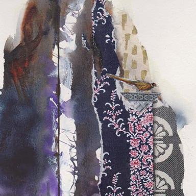 La montagne papier oiseau -30 30 aquarelle encre collage