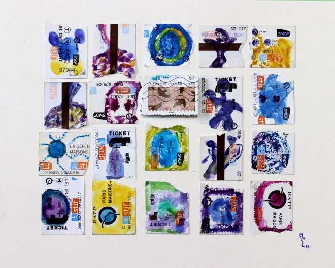 Chrismali - techniques mixtes sur TM déchirés et ajout timbres