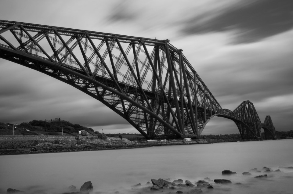 Looking up towards the Forth of Firth rail bridge from the Northern banks of the river