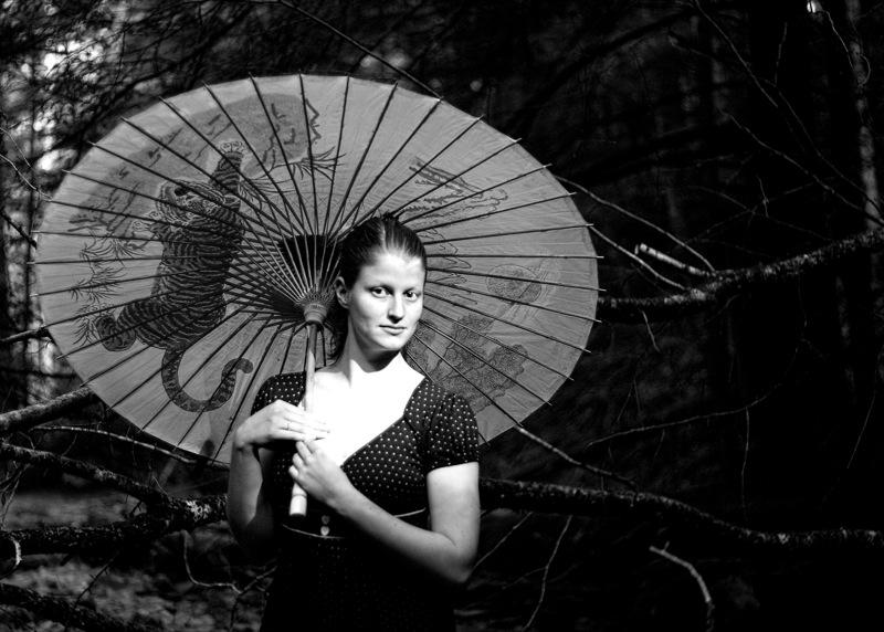 Rachael with parasol b&w