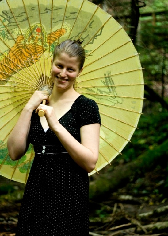 Rachael with parasol